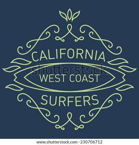 California west coast surfers. Monograms style. Vector artwork for t-shirt print. Simple monogram design template. - stock vector