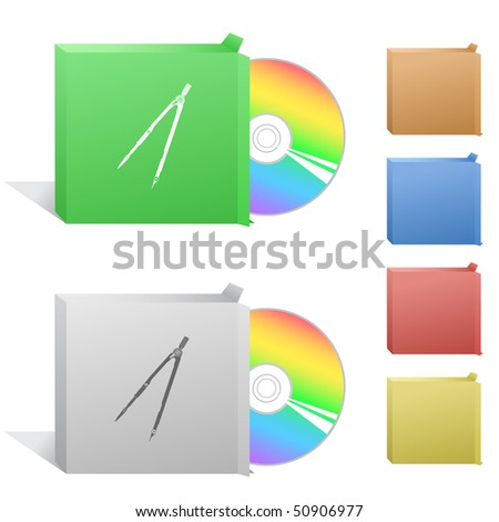 Caliper. Box with compact disc. - stock vector