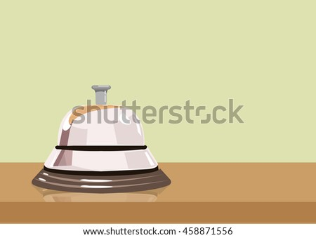 Call Bell on a wooden desk illustration. Editable Clip Art.