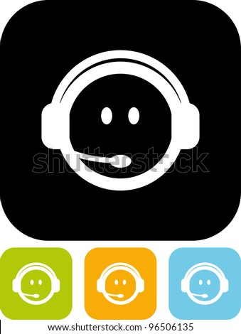 Call center assistant in headset - Vector icon isolated - stock vector