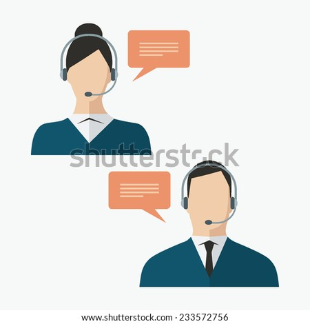 Call center client service flat design colorful avatars of faceless man and woman wearing headsets with speech bubbles isolated on white - stock vector