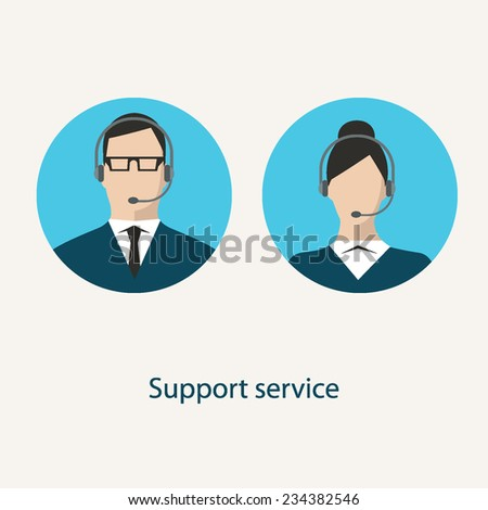 Call center client service flat design colorful round icons with faceless man and woman wearing headsets isolated on light background - stock vector