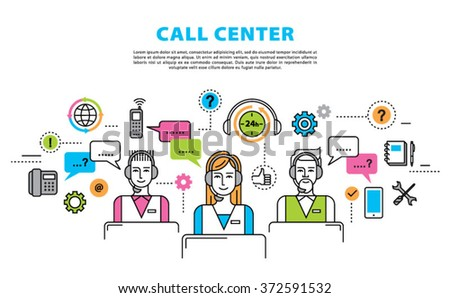 Call center concept in thin flat, linear style.  - stock vector