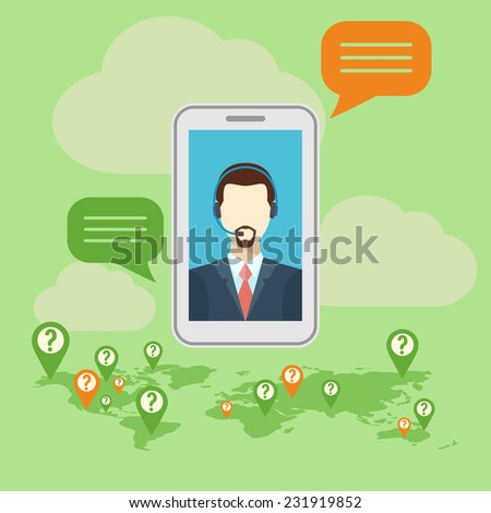 call center concept with man in headset. - stock vector