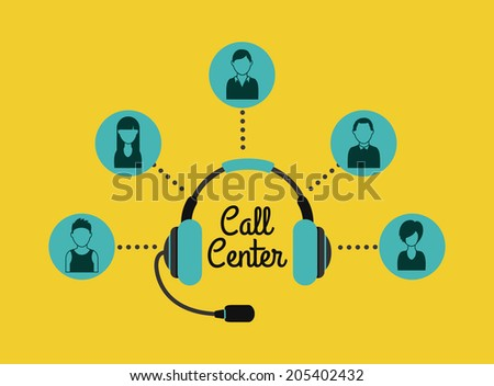 Call center design over yellow background, vector illustration - stock vector