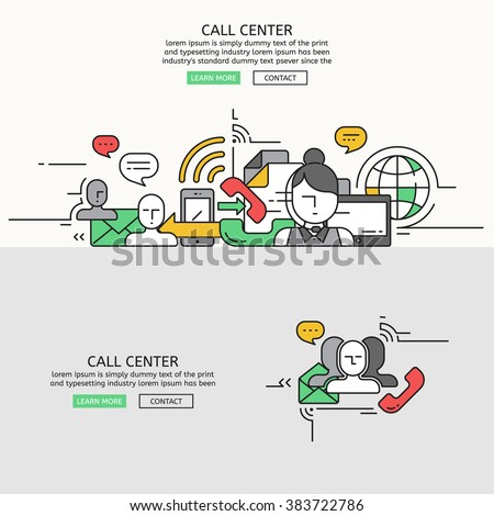 Call Center for website banner and landing page , Flat line design for website element , eps10 vector format - stock vector