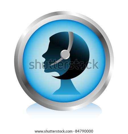 Call center girl silhouette with headset. - stock vector