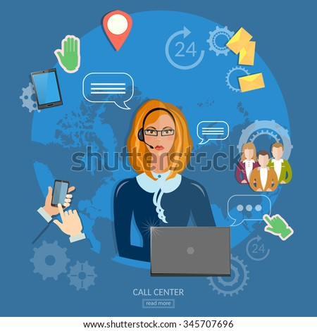 Call center helpline operator with headphones woman technical support concept - stock vector