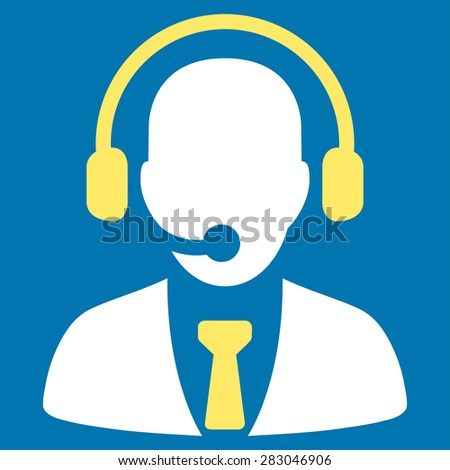 Call center icon from Business Bicolor Set. Vector style: bicolor flat symbol, yellow and white colors, rounded angles, blue background.
