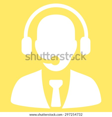 Call center icon from Business Bicolor Set. Vector style is flat symbol, white color, rounded angles, yellow background.