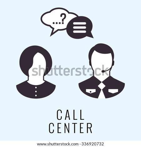 call center man and women talk - stock vector