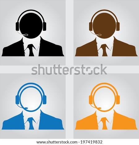 call center man icon - stock vector