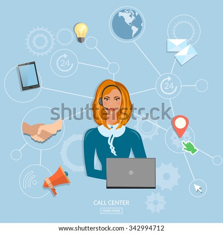Call center operator beautiful woman technical support service 24 hours vector  - stock vector