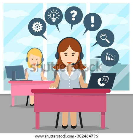 Call center operator. Help and headset, office and communication, contact helpline, assistance or consultant talk, vector illustration - stock vector