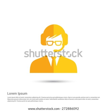 call center operator icon, pictogram icon on gray background. Simple flat metro design style. half shade cut icon. Flat design style. Vector illustration - stock vector