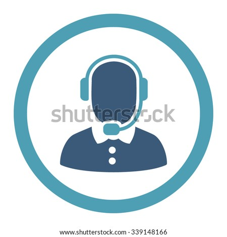Call Center Operator vector icon. Style is bicolor flat rounded symbol, cyan and blue colors, rounded angles, white background. - stock vector