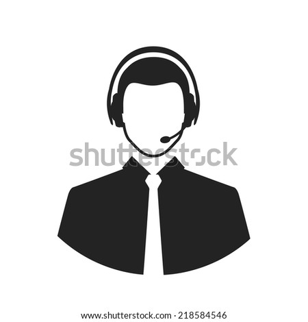 call center operator wearing headset vector concept silhouette icons - stock vector