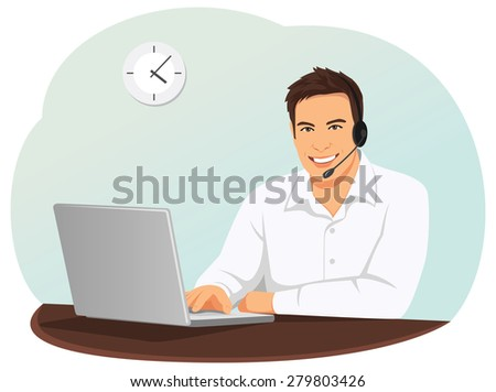 Call center operator with a headset is typing on the laptop - stock vector