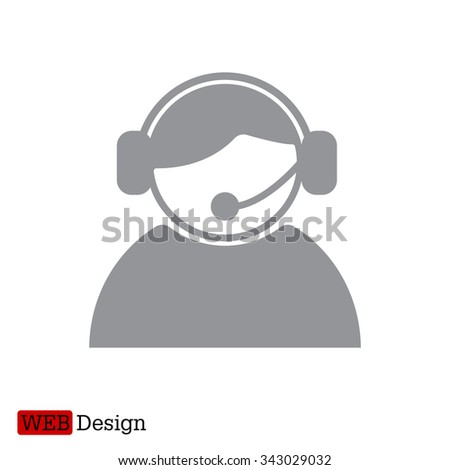 call center operator with headset.  web icon. vector illustration - stock vector