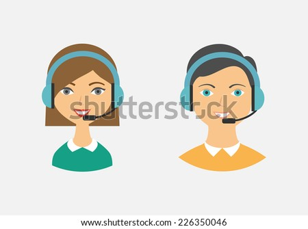 Call center operators, female and male avatar icons. Vector illustration, flat style  - stock vector