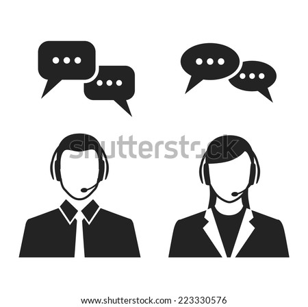 call center operators wearing headsets and speech bubbles. black and white vector concept icons - stock vector