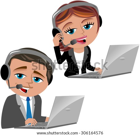 Call center operators with notebook and headset isolated  - stock vector