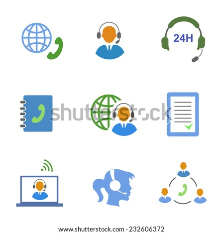 Call center service icons set of contacts mobile phone and communication isolated vector illustration - stock vector