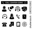 Call center service icons set of customer care phone assistance and headset isolated vector illustration - stock vector