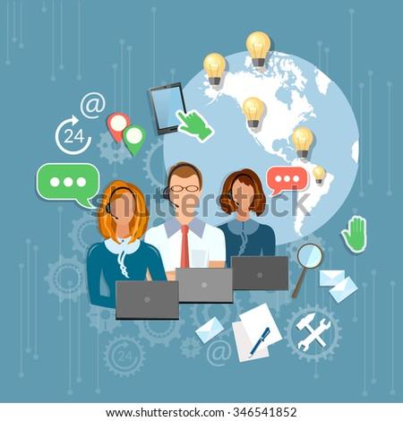 Call center support feedback customer service - stock vector