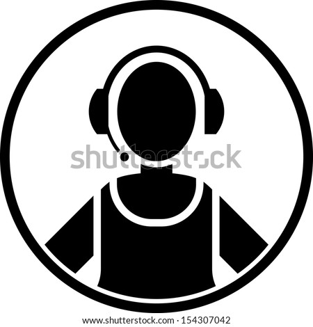 Call center woman agent icon isolated  - stock vector