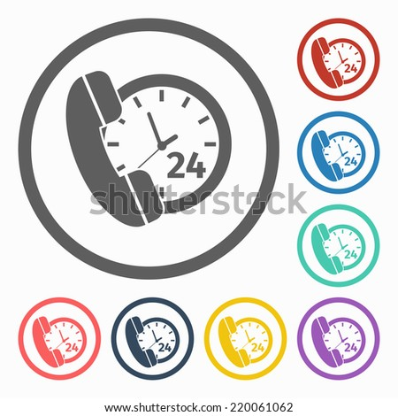call 24 hours icon - stock vector