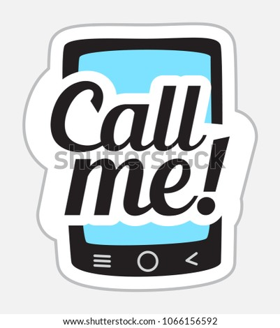 Call me sticker in retro style vector illustration isolated on white background