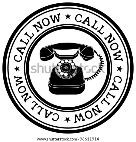 call now stamp - stock vector
