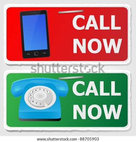 Call now stickers. Vector illustration.