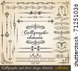 Calligraphic and decor design elements. Vector design corners, bars, swirls, frames and borders. Hand written retro feather symbols. - stock vector