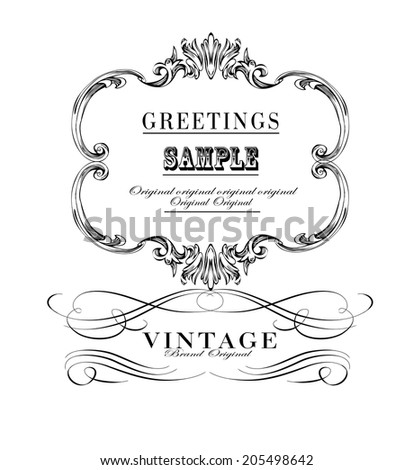 calligraphic and floral design elements. Set of hand-drawing calligraphic - stock vector