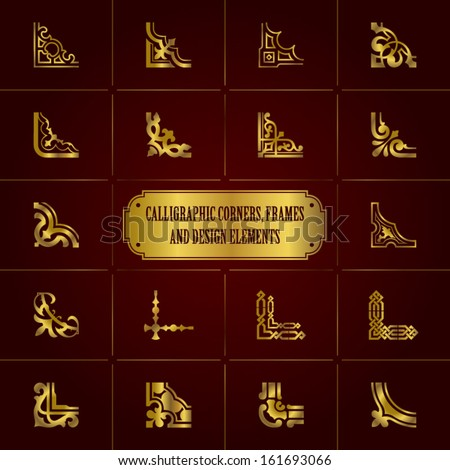 Calligraphic corners, frames and design elements in gold - stock vector