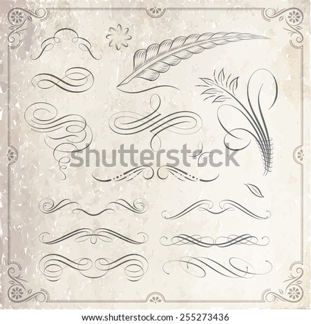 Calligraphic decorative elements in vector format. Ideal for creative layout, greeting cards, invitations, books, brochures, stencil and many more uses.  - stock vector