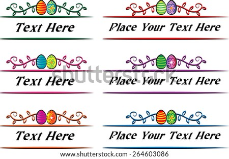 Calligraphic decorative elements with Easter eggs - stock vector