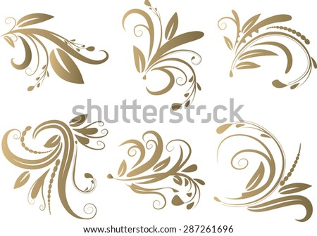 Calligraphic decorative elements with lines - stock vector