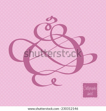 Calligraphic design element and page decoration. Hand-drawn calligraphic and typographic element on the light colored polka dot background. Vector illustration. - stock vector