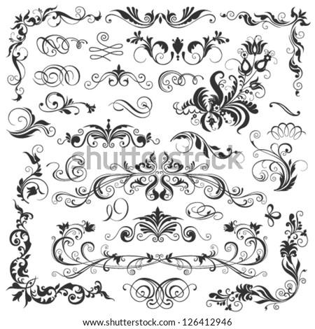 calligraphic design elements - stock vector
