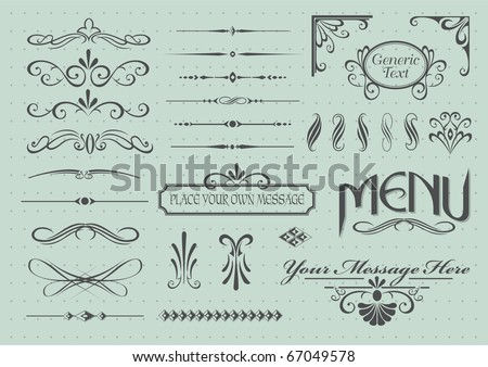 Calligraphic design elements and page decoration - stock vector