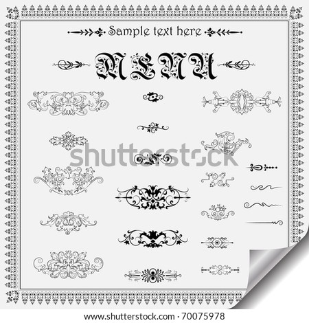 calligraphic design elements and page decoration - lots of useful elements - stock vector
