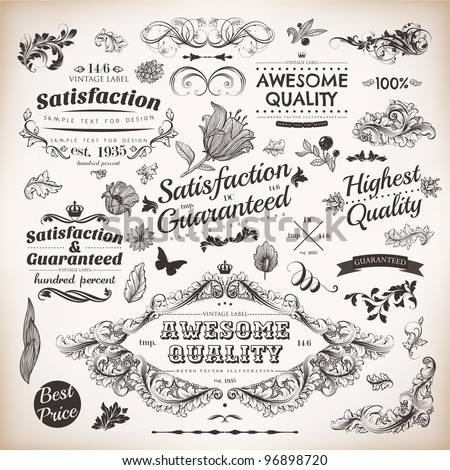 Calligraphic design elements and page decoration, Premium Quality, Awesome and Satisfaction Guarantee Label collection with vintage engraving flowers and leafs - stock vector