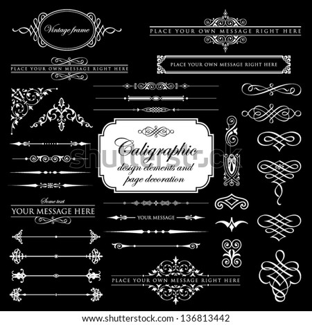 Calligraphic design elements and page decoration set 6 - stock vector