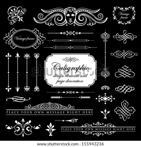 Calligraphic design elements and page decoration set 12 - stock vector