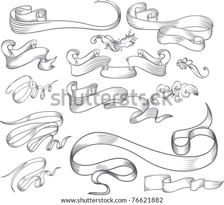 calligraphic design elements and page decoration set - stock vector
