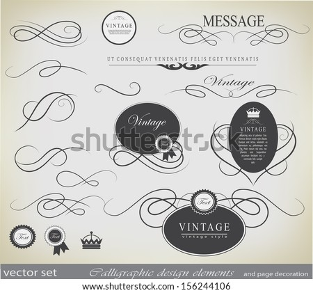 calligraphic design elements and page decoration/ vector - stock vector
