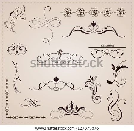Calligraphic design elements and page decoration. Vector set.